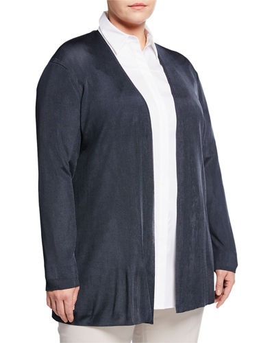 Lafayette 148 New York Plus Ribbed Open-Front Cardigan,