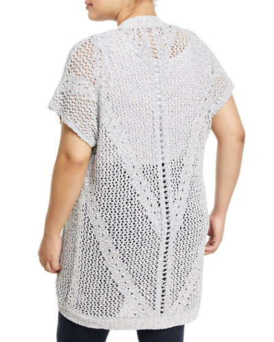 Ysabel Crocheted Dolman-Sleeve Cardigan, Plus Size