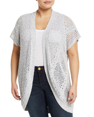Ysabel Crocheted Dolman-Sleeve Cardigan  Plus Size