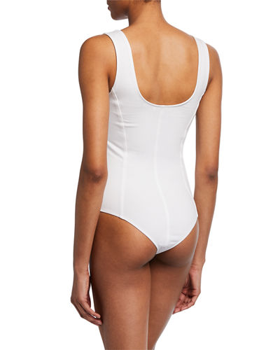 Seamed Scoop-Neck Bodysuit