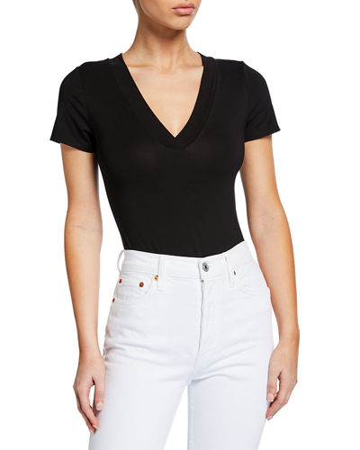Low-Cut Short-Sleeve V-Neck Bodysuit