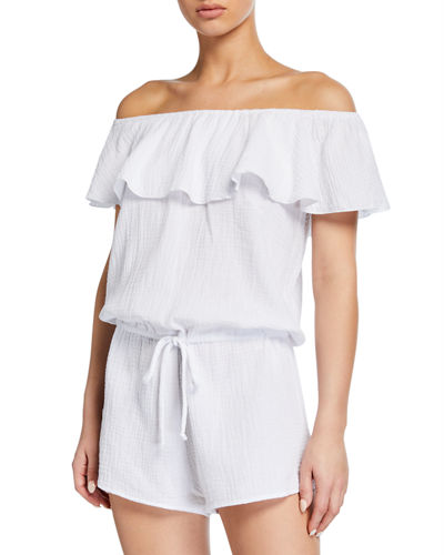 Lucia Off-the-Shoulder Teddy Romper