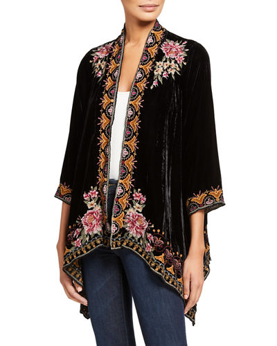 Plus Size Joanna Embroidered Velvet Drape Cardigan