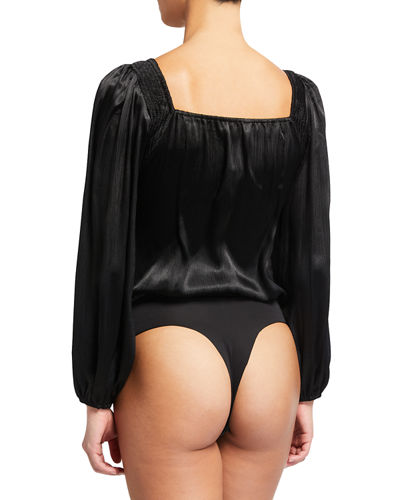 Alia Long Puff-Sleeve Bodysuit