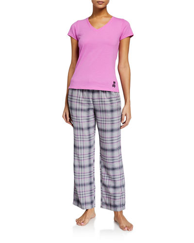 Plaid Flannel Pants with T-Shirt Gift Set