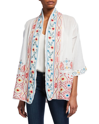 Waverly Embroidered Cotton Kimono