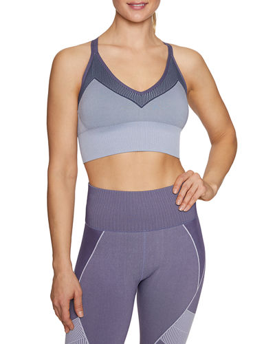 Striped Strappy Extended Seamless Sports Bra