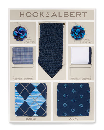 Lapel Flower, Pocket Square, Tie & Socks Gift
