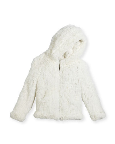 Hooded Zip-Front Rabbit Fur Jacket, Size 2-12