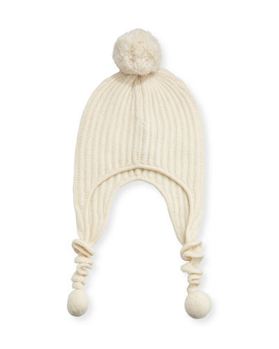 Knit Corckscrew Trapper Hat w/ Pompoms