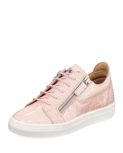 Selma Snake-Embossed Leather Low-Top Sneaker  Toddler/Kids