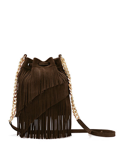 Suede Fringe Pouch Crossbody Bag