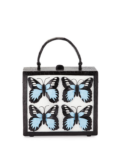 Butterfly Crocodile Top-Handle Box Bag