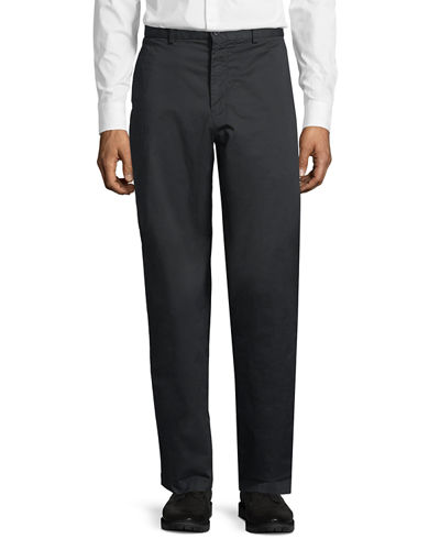 Stretch Twill Straight-Leg Pants