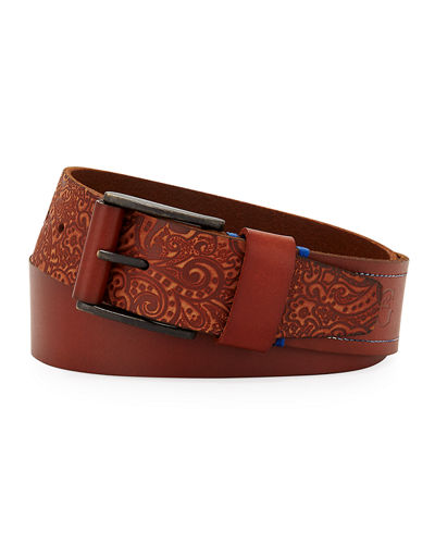 Penniman Paisley-Embossed Leather Belt