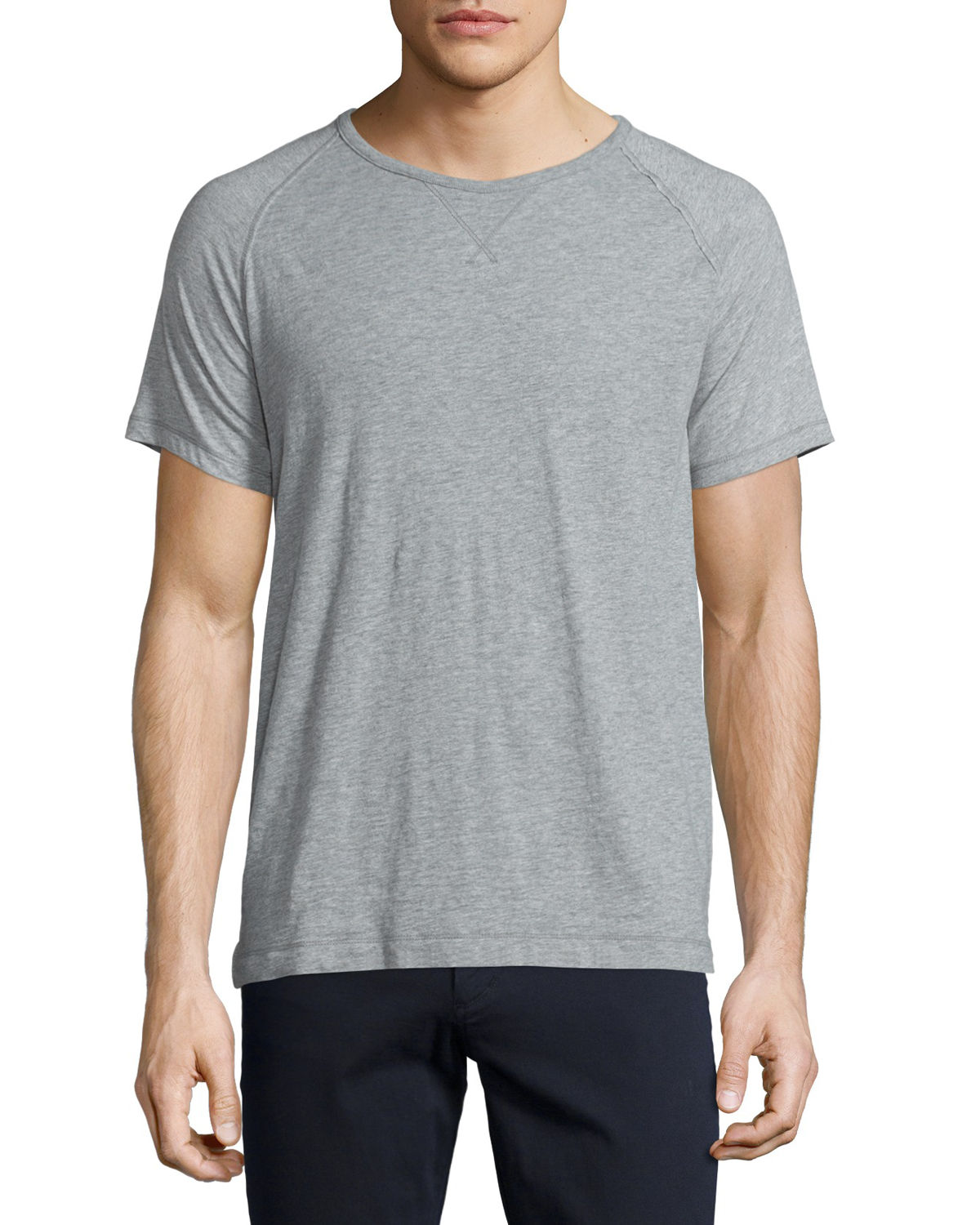 Vince T-shirts SLUB RAGLAN-SLEEVE JERSEY T-SHIRT, HEATHERED STEEL
