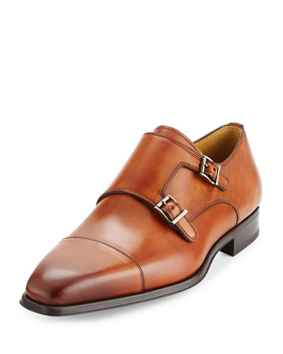 Cap-Toe Leather Double-Monk Loafer