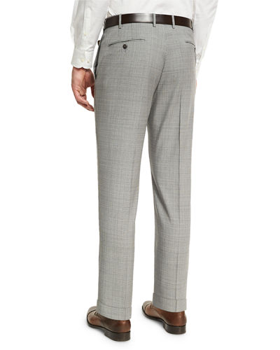 Puppytooth Check Straight-Leg Trousers