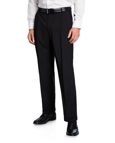 Men's Traditional Fit Pleated Wool Gabardine Pants