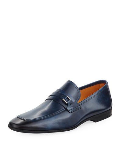 Magnanni for Neiman Marcus Square-Toe Slip-On Leather Loafer