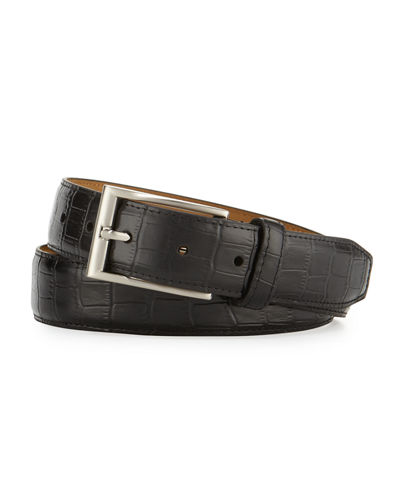 Croc-Embossed Leather Belt