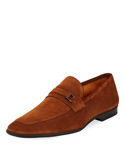 Suede Buckle Square-Toe Loafer