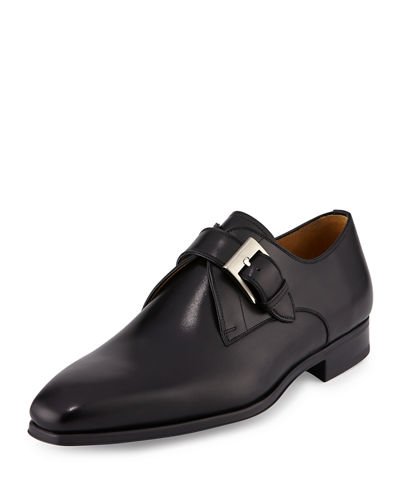 Buckle-Strap Leather Loafer