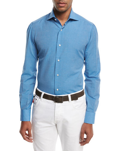 Isaia Cotton-Linen Sport Shirt