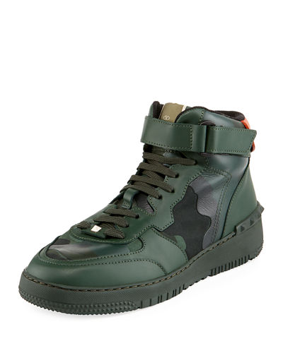 Men's Camo-Print High-Top Leather Sneakers