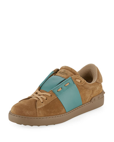 Men's Striped Suede & Leather Low-Top Sneaker
