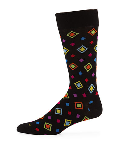 Diamond-Print Cotton-Blend Socks