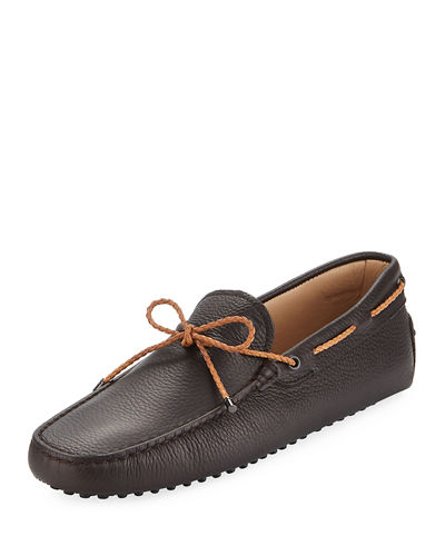 Leather Flat Slip-On Moccasin, Brown