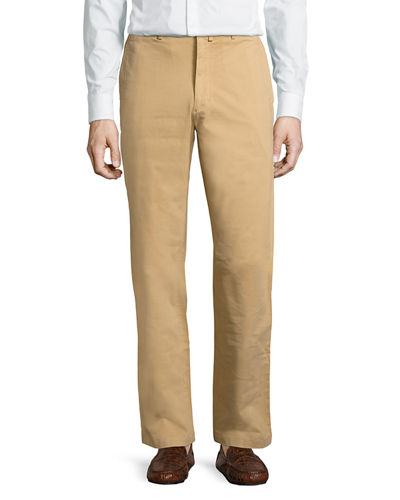 Stretch Twill Brushed Straight-Leg Pants