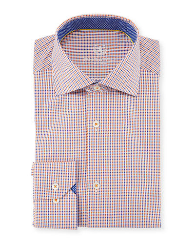 Classic Fit Grid-Print Cotton Dress Shirt