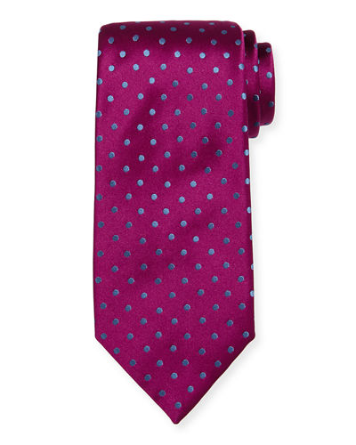 Off-Center Dotted Satin Tie