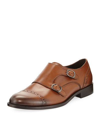 Alan Double-Monk Leather Loafer