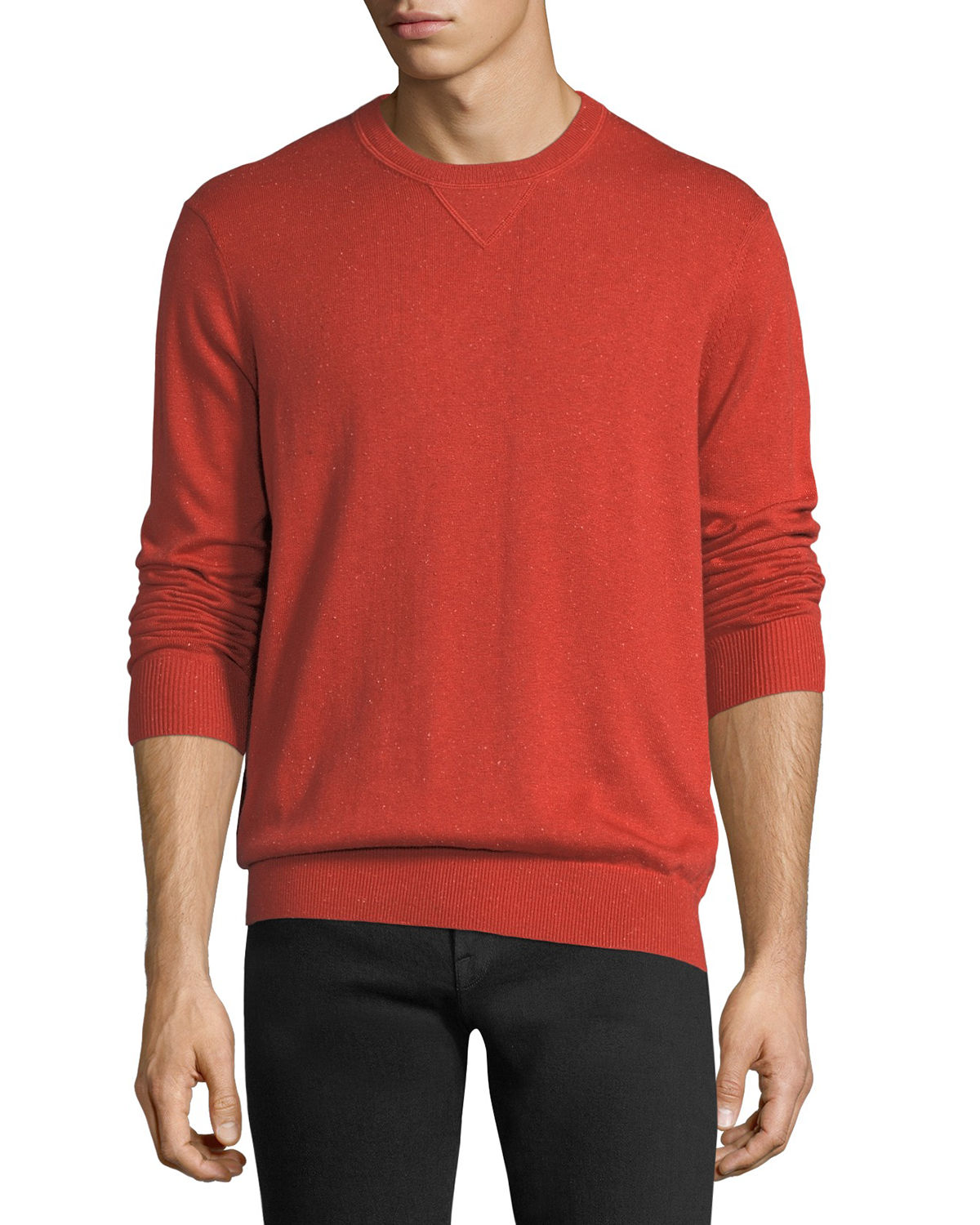 Neiman Marcus T-shirts DONEGAL CREWNECK SWEATSHIRT WITH ELBOW PATCHES