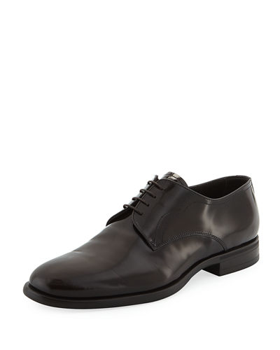Glossy Leather Lace-Up Oxford