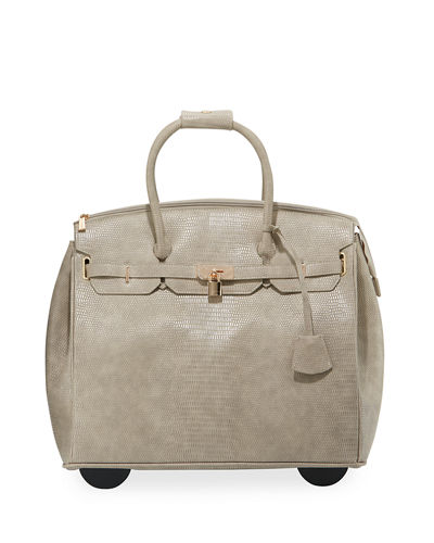Lizzie Lizard-Embossed Faux Leather Rolling Bag
