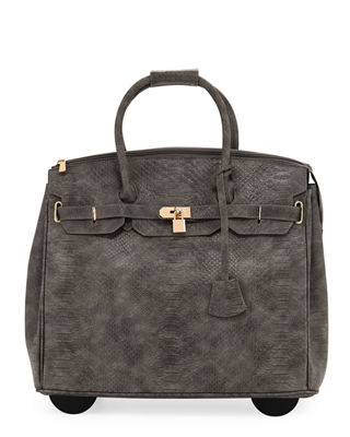 KC JAGGER Ainsley Snake-Embossed Faux-Leather Rolling Bag in Gray