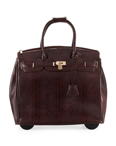 KC Jagger Ainsley Snake-Embossed Faux-Leather Rolling Bag