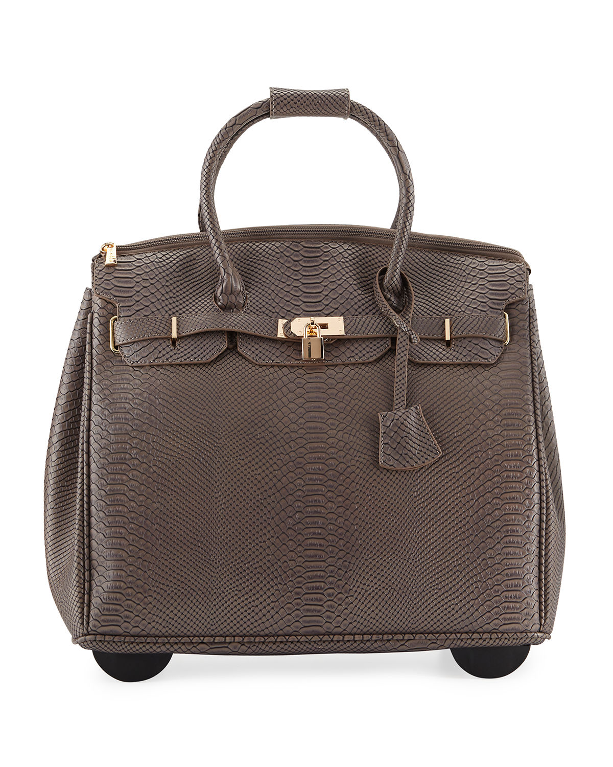 Ainsley Snake Embossed Faux Leather Rolling Bag