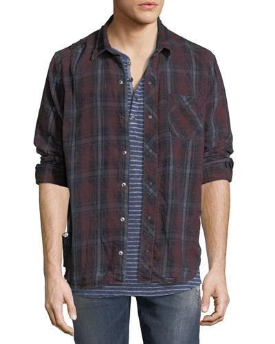 Weston Plaid Distressed Shirt