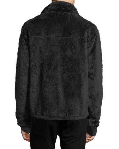 Fuzzy Fleece Zip-Front Jacket