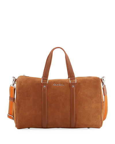 Large Suede Travel Duffel Bag
