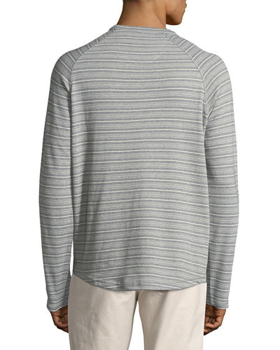 Striped Long-Sleeve Henley Top