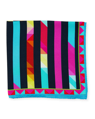Bugatchi Silk Striped Pocket Square
