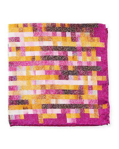 Grid-Print Silk Pocket Square