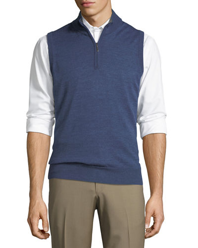 Mock-Collar Zip Sweater Vest