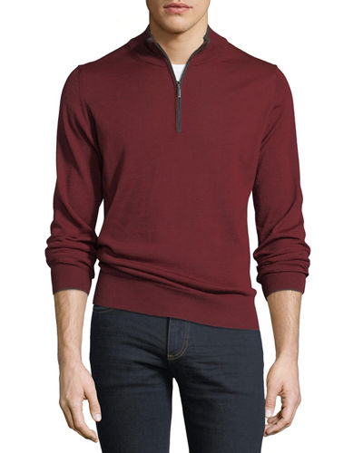 Mock-Neck Zip-Front Sweater w/Tipping